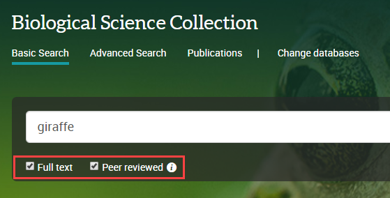 select full text and peer reviewed