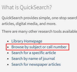 QuickSearch browse by subject or call number