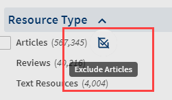 exclude button next to resource type