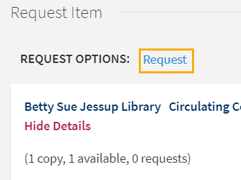Screenshot of Request button