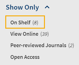 Screenshot of On Shelf link