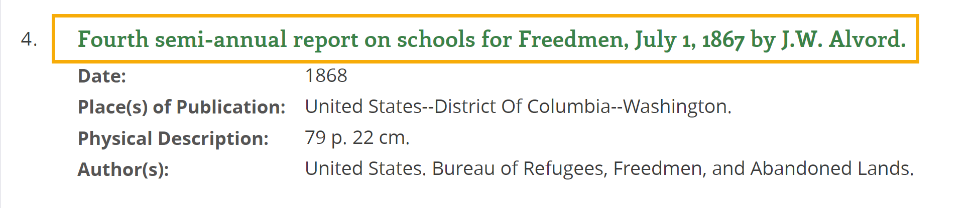 Screenshot of search result - Fourth semi-annual report on schools for Freedmen, July 1, 1867 by J.W. Alvord
