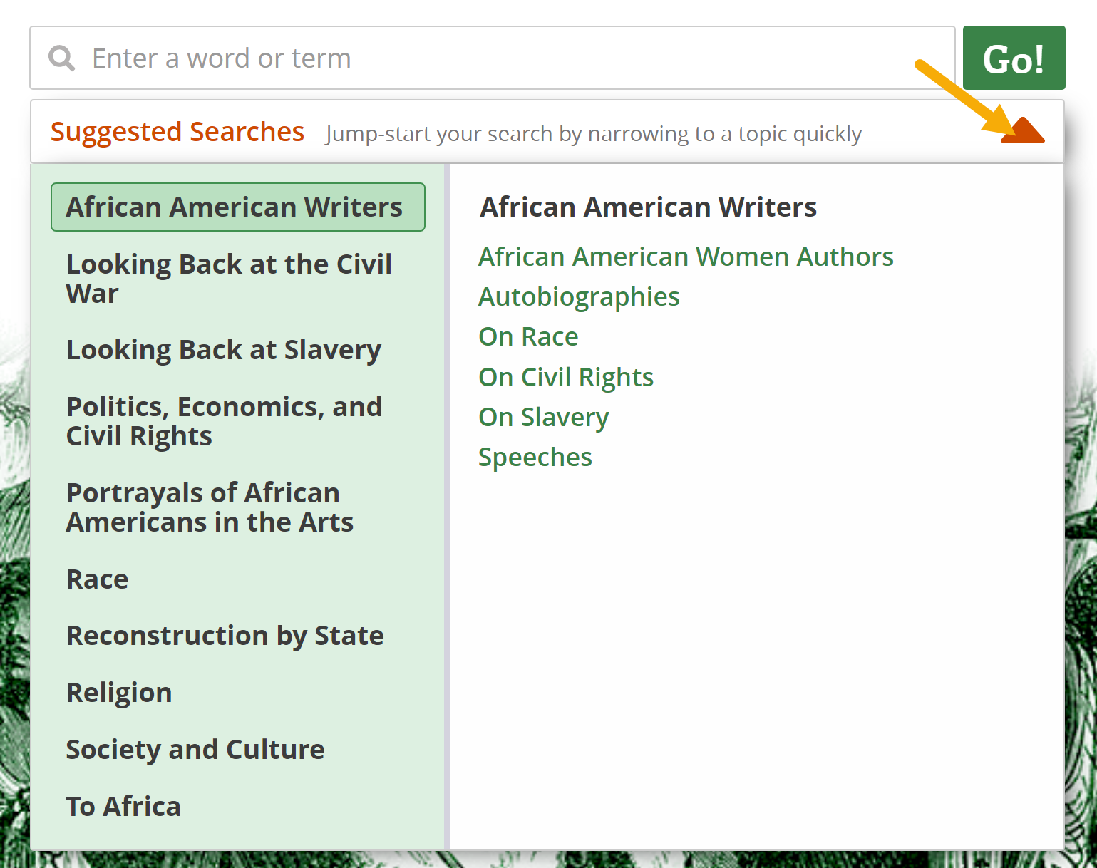 Screenshot of Suggested Searches and dropdown arrow