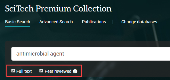 select full text and peer reviewed in search box