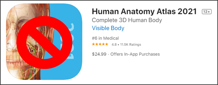 Screenshot of wrong human anatomy app