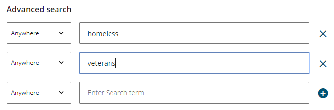 search box with different terms in separate boxes