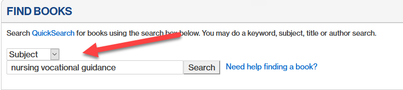 screenshot of book catalog subject search