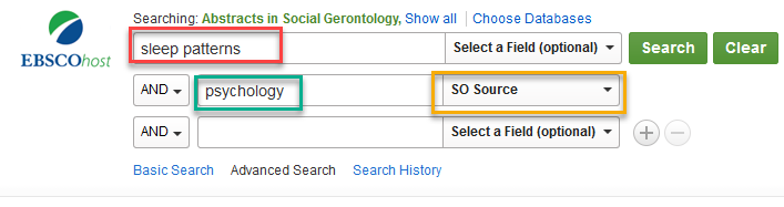 red green and yellow boxes outlining search terms