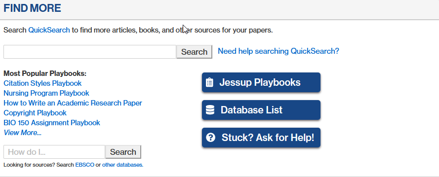 screenshot of the find more section