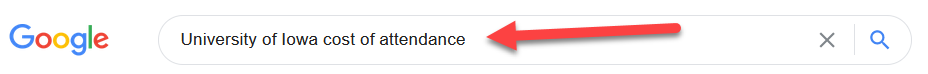 screenshot of search engine cost of attendance search