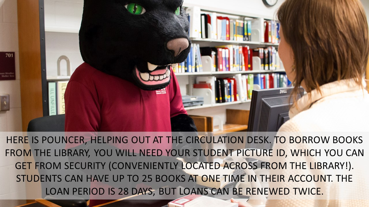 HERE IS POUNCER, HELPING OUT AT THE CIRCULATION DESK. TO BORROW BOOKS FROM THE LIBRARY, YOU WILL NEED YOUR STUDENT PICTURE ID, WHICH YOU CAN GET FROM SECURITY (CONVENIENTLY LOCATED ACROSS FROM THE LIBRARY!). STUDENTS CAN HAVE UP TO 25 BOOKS AT ONE TIME IN THEIR ACCOUNT. THE LOAN PERIOD IS 28 DAYS, BUT LOANS CAN BE RENEWED TWICE.
