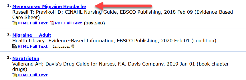 screenshot of nursing reference center search results
