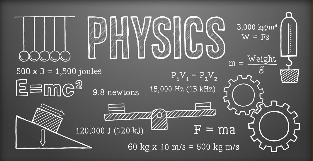 chalkboard with physics examples