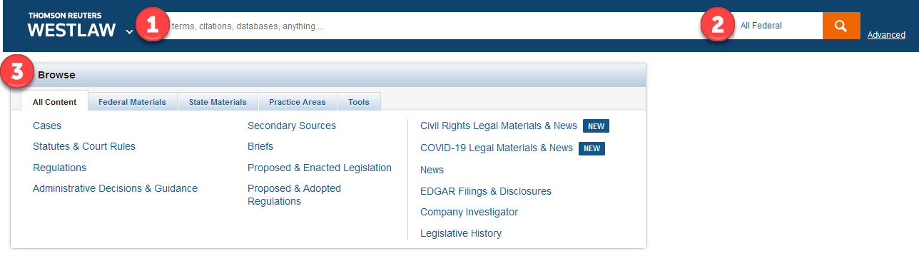 screenshot of Westlaw's  main screen