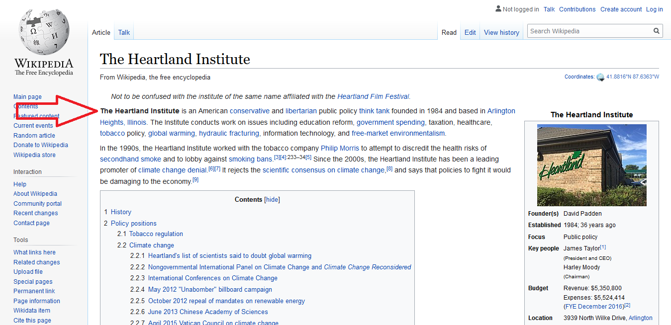 Wikipedia summary of the Heartland Institute