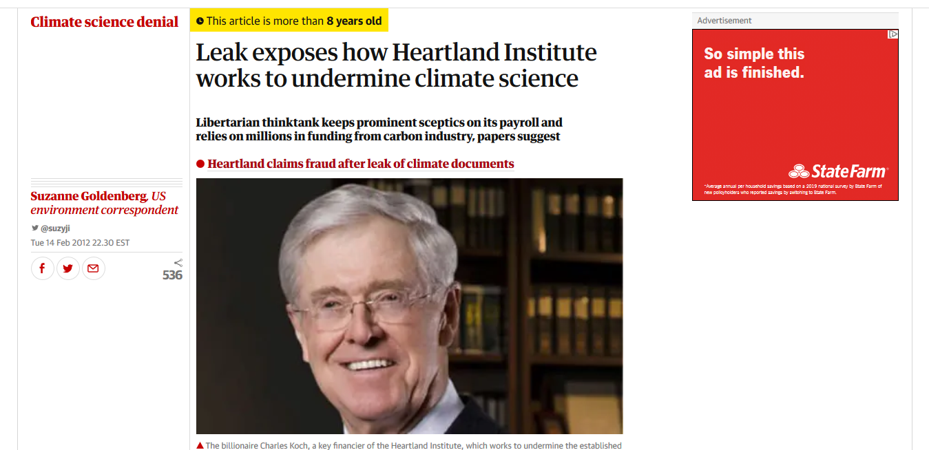 Guardian article: Leak exposes how Heartland Institute works to undermine climate science