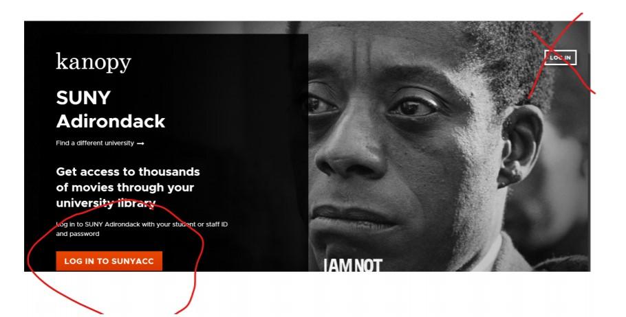 Screenshot 1 login to SUNYACC