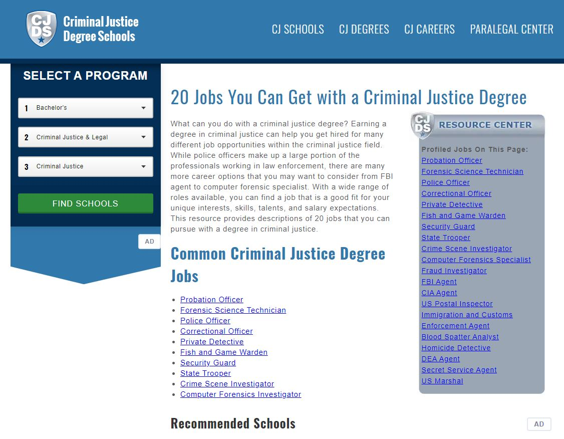 Title: 20 Jobs you can get with a criminal justice