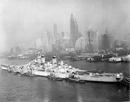 Battleship New Jersey being transported in 1948