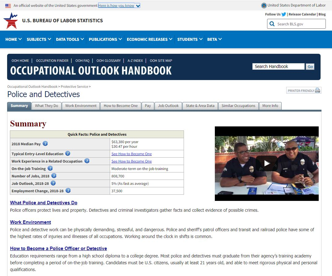 Occupational Outlook Handbook site for Police