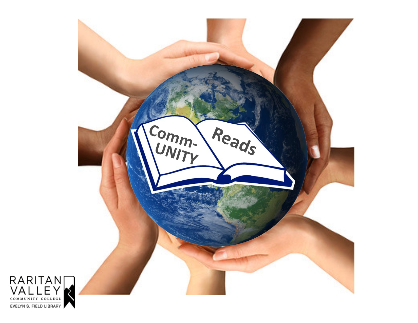 """hands circling the earth with a book centered and the words """"Community Reads"""""""
