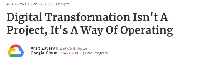 Headline: Digital transformation isn't a project, it's a way of operating