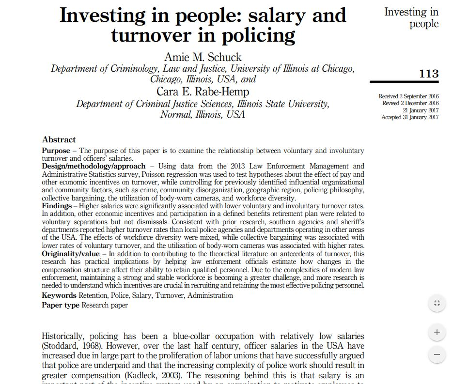 Investing in people: salary and turnover in policing
