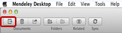 Mendeley toolbar on a Mac with Add Files circled