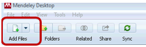 Mendeley toolbar in Windows with Add Files circled