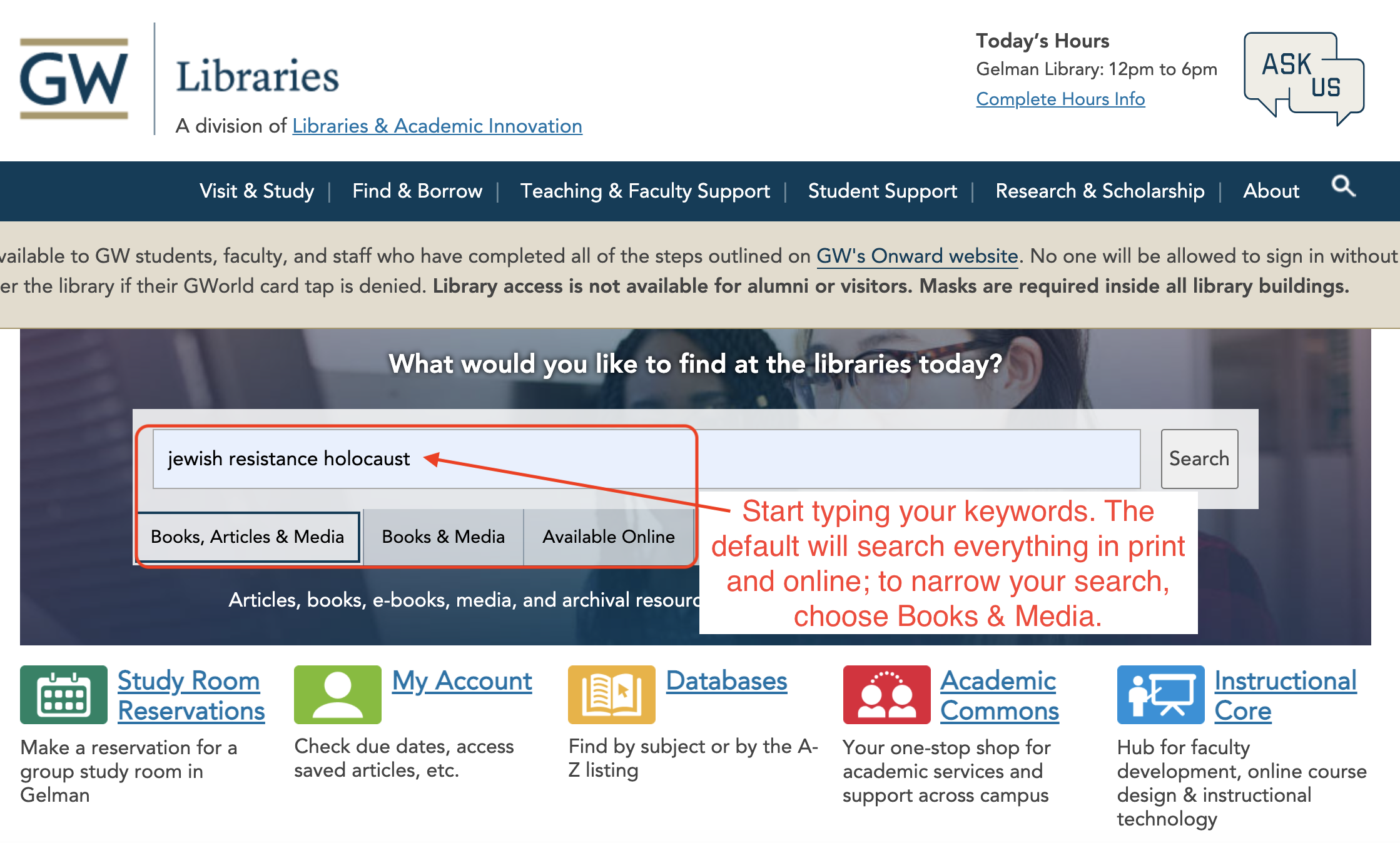 Library catalog search box with tips for searching.