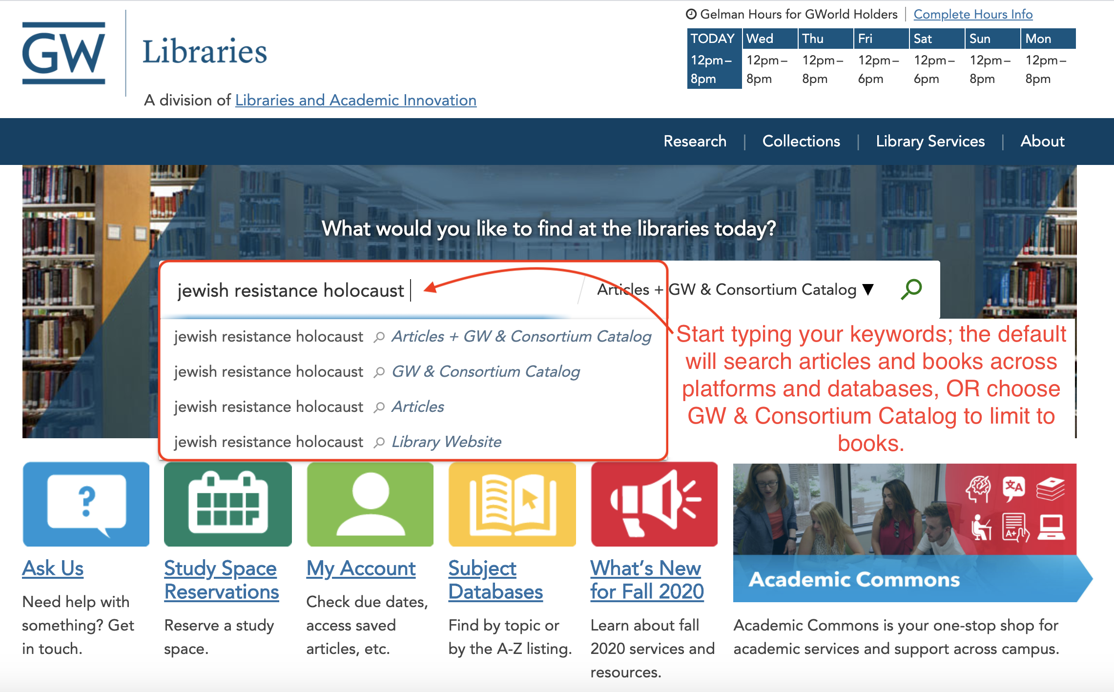 Picture of library catalog with the following caption: Start typing your keywords; the default will search articles and books across platforms and databases, OR choose GW & Consortium Catalog to limit to books.