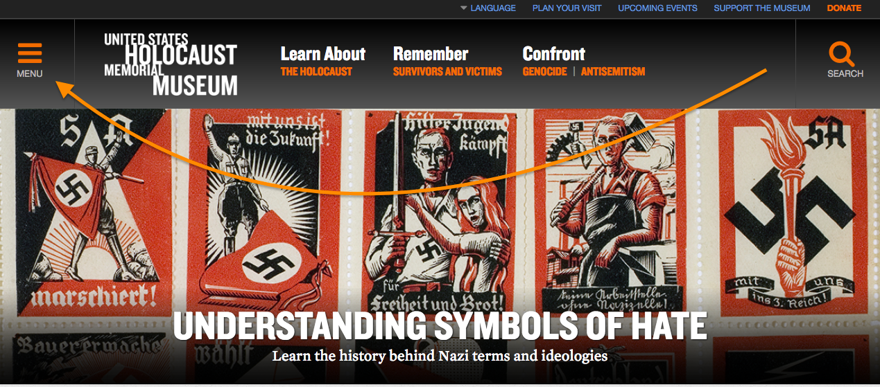 An orange arrow points to a menu for users to refer to for locating symbols of hate.