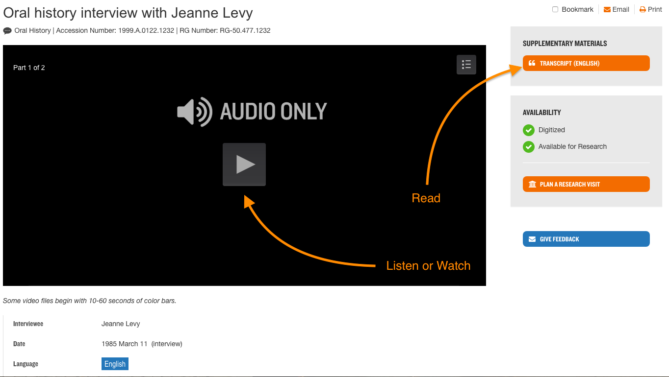 Three arrows tell the user where to listen watch or read a transcript.