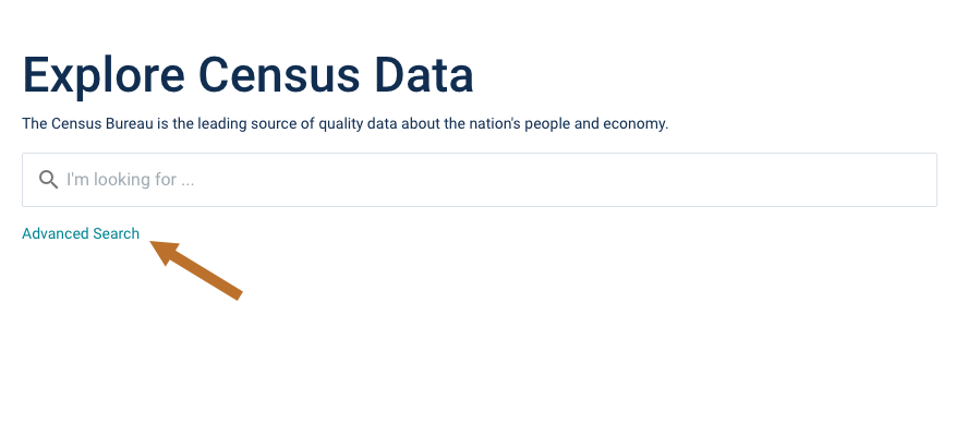 Explore Census Data Advanced Search