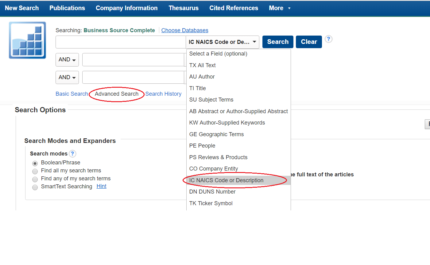 screenshot of Business Source Complete advanced search by NAICS Code