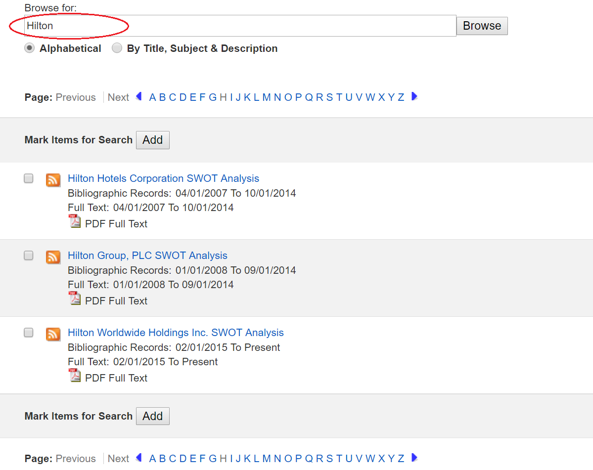 """screenshot of Business Source Complete search results for """"Hilton"""""""