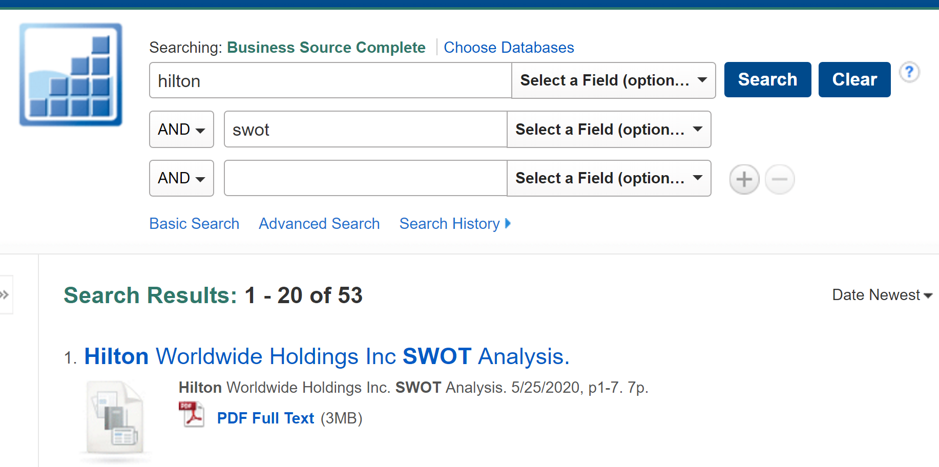 """screenshot of Business Source Complete search for """"hilton"""" AND """"swot"""""""
