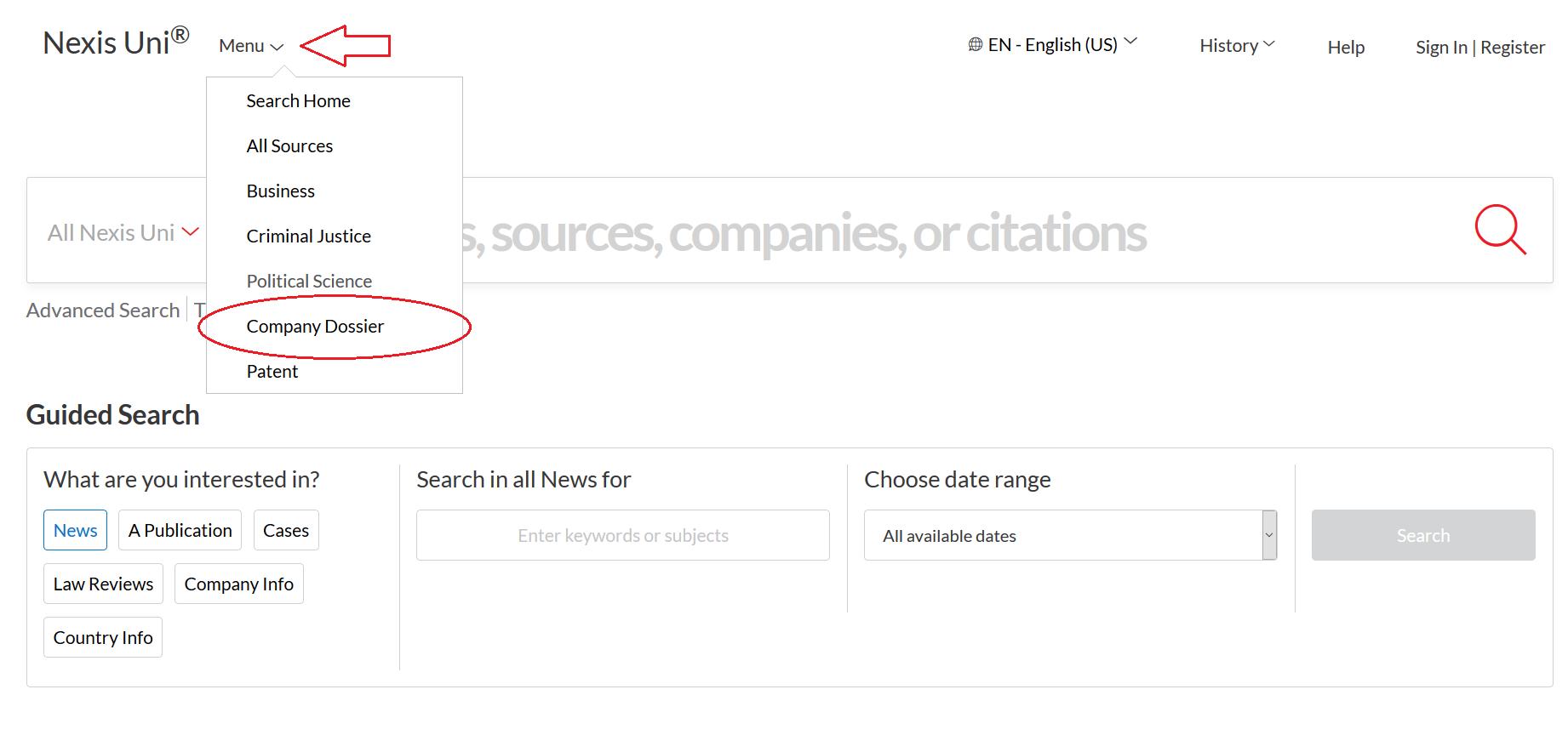 Company Dossier Search Menu