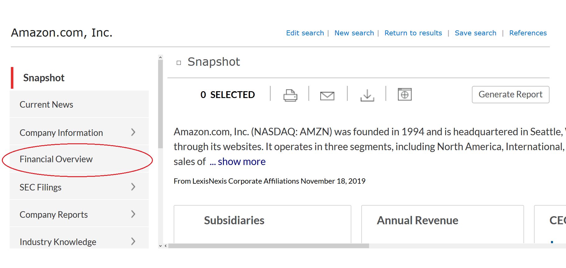"""Nexis Uni page for Amazon with """"Financial Overview"""" tab circled"""