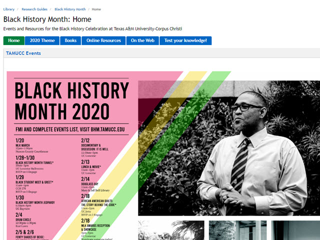 Screenshot from the Black History Month Guide online