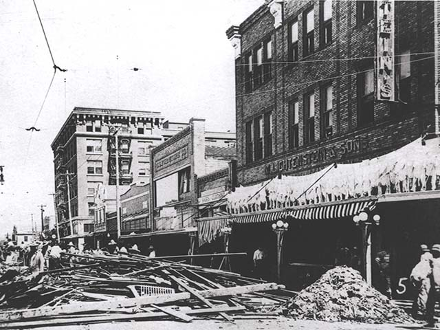 Chapparral Street after the 1919 Hurricane