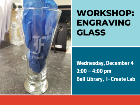 image displaying information about upcoming library workshop engraving glass