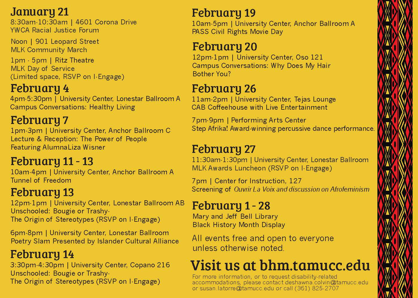Black History Month Calendar with Events