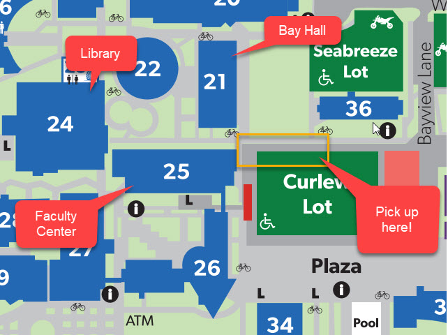 campus map highlighting area for curbside pick up in Curlew Lot