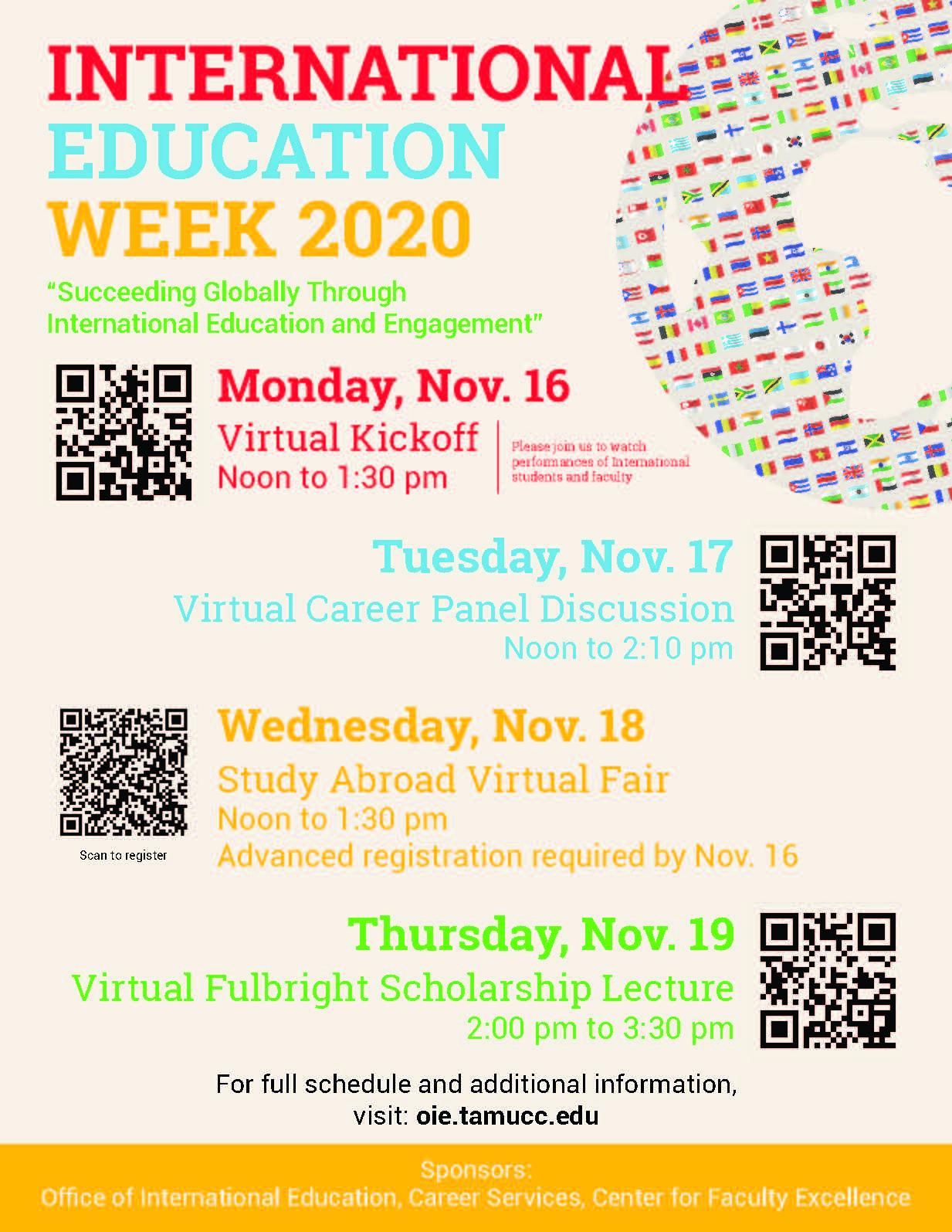 Flyer for TAMUCC's International Education Week Celebration