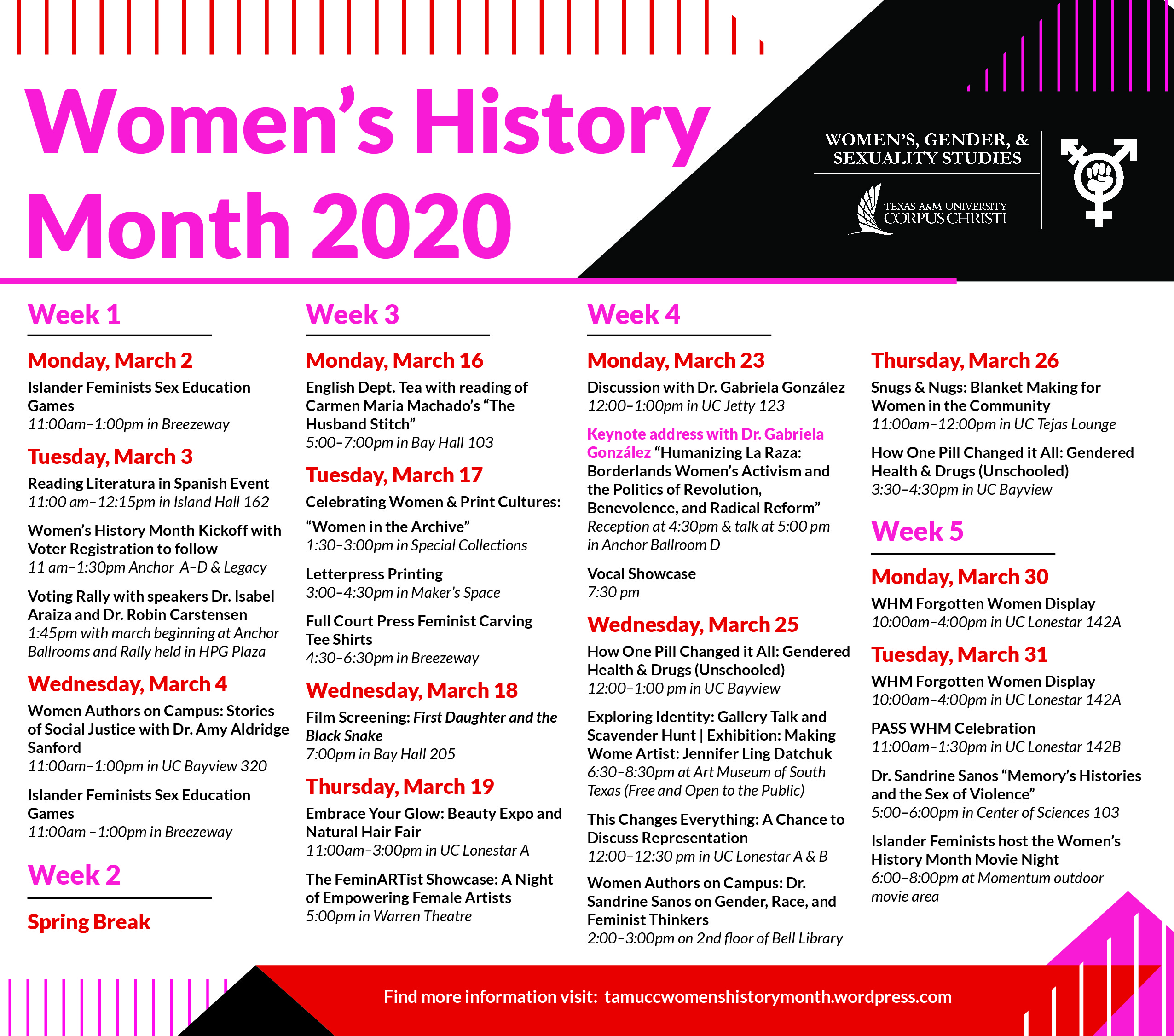 Image of the calendar of events for Women's History Month