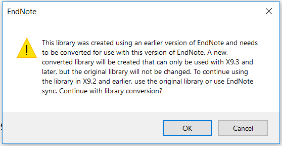 EndNote warning to convert your library to new format