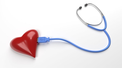 model heart connected to a stethoscope via USB