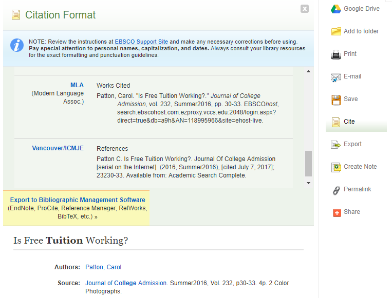 example of the citation tool providing MLA citatio