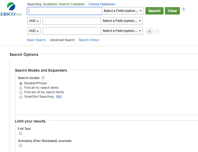 a screenshot of the academic search advanced search page